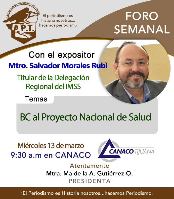 SALVADOR MORALES RIUBI, DELEGADO DEL IMSS, EN LA APT, EL MIÉRCOLES 13 MARZO 2019