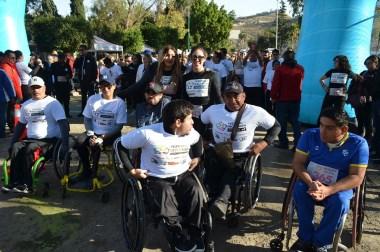 Ganan Cruz y Ortega carrera del Festival de la Inclusión, en Parque Morelos