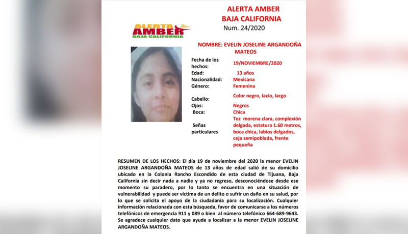 LOS MÁS BUSCADOS: Alerta AMBER por Evelin Joseline de 13 años