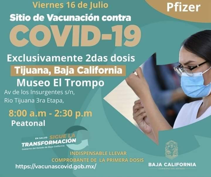 SITIOS PARA VACUNARSE CONTRA COVID,  EL VIERNES 16 DE JULIO